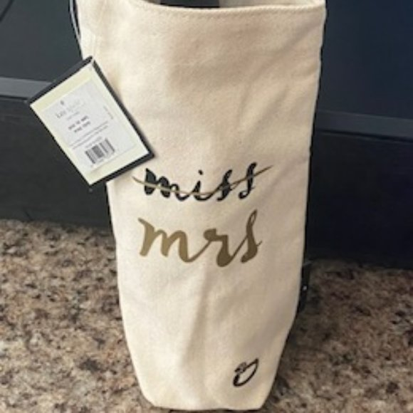 Kate Spade New York wine tote gift bag - miss to mrs.